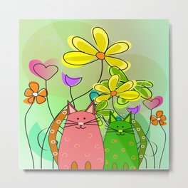 Whimsical Cats and Flowers III Metal Print