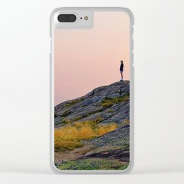Standing on a Mountain Clear iPhone Case