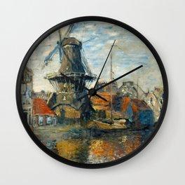 "Claude Monet ""The Windmill, Amsterdam"", 1871 Wall Clock"