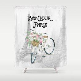 Vintage Bicycle Bonjour Paris Shower Curtain