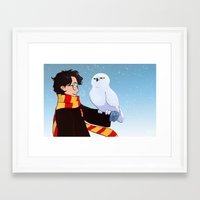 hedwig Framed Art Prints featuring Harry and Hedwig by AnimonInk