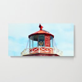 North Cape Lighthouse Top Metal Print