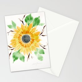 Fall Watercolor Large Sunflower Stationery Cards