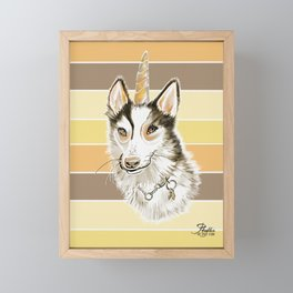 Husky Dog Unicorn Watercolor Painting on Yellow Brown Stripe Background Framed Mini Art Print