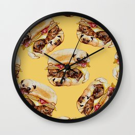 Pugs Burger Watercolor Wall Clock