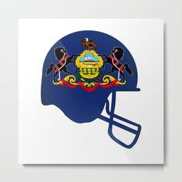 Pennsylvania State Flag Football Helmet Metal Print