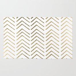 Elegant white faux gold chevron geometrical pattern Rug