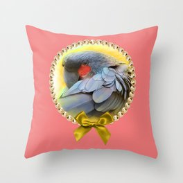 Black Palm Cockatoo realistic painting Throw Pillow