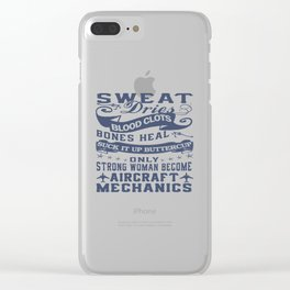 Aircraft Mechanic Woman Clear iPhone Case