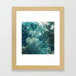 Teal Blue Galaxy Framed Art Print