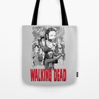 walking dead Tote Bags featuring Walking Dead by Matt Fontaine Creative