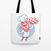 chef Tote Bags featuring Pizza Chef by drawgood
