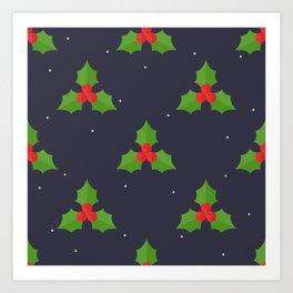 Red Christmas Mistletoe Pattern Art Print