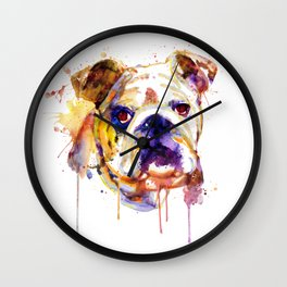English Bulldog Head Wall Clock