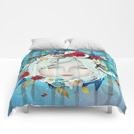 head of girl and flowers Comforters