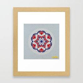 Mandala no.5 Red & Navy Framed Art Print