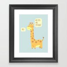 Giraffe problems! - Baby Blue version Framed Art Print