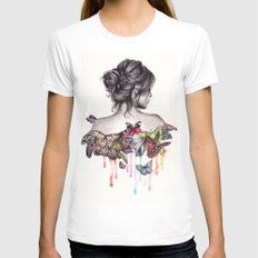 Butterfly Effect White MEDIUM Womens Fitted Tee