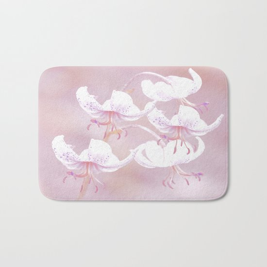 White lilies with pink background Bath Mat