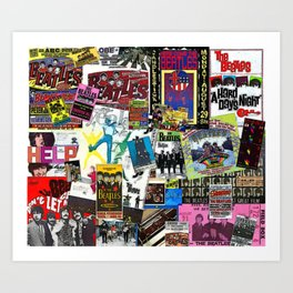 British Rock and Roll Invasion Fab Four Vintage Concert Rock and Roll Painting Collage portrait Art Print