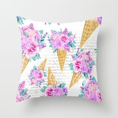 Floral Ice Cream 06 Throw Pillow