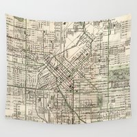 denver Wall Tapestries featuring Vintage Map of Denver Colorado (1920) by BravuraMedia