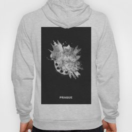 Prague, Czech Republic Black and White Skyround / Skyline Watercolor Painting (Inverted Version) Hoody