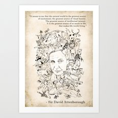Attenborough & His Animals Art Print