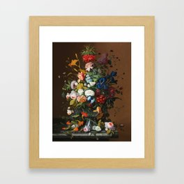 Flower Still Life with Bird's Nest, 1853 Framed Art Print