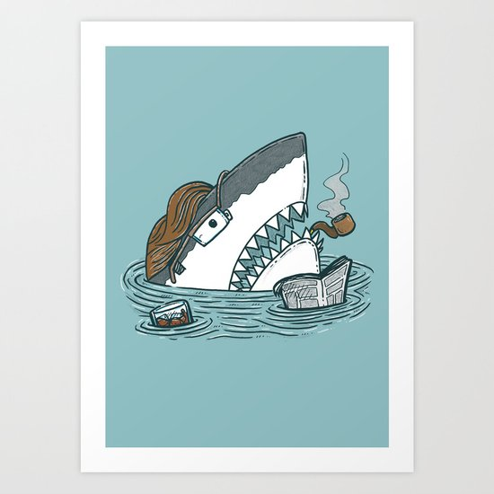The Dad Shark Art Print