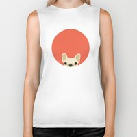french bulldog Biker Tanks featuring French Bulldog by Anne Was Here