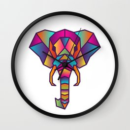 Elephant | Geometric Colorful Low Poly Animal Set Wall Clock