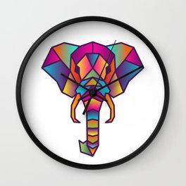 Elephant   Geometric Colorful Low Poly Animal Set Wall Clock