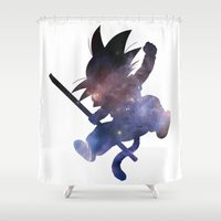 goku Shower Curtains featuring SPACE GOKU by DrakenStuff+