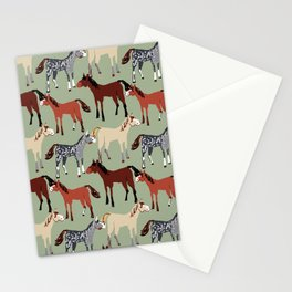 Brown Bay Horse in light green pattern Stationery Cards