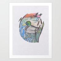 ducks Art Prints featuring Ducks by Inez Gulyas