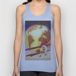 Vintage Plane and Globe Unisex Tank Top