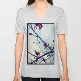 Coral Tree in Rain Unisex V-Neck