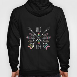 """Ethnic frame made of feathers, threads and beads with text """"Wild and Free"""". Freedom concept. Hoody"""