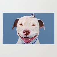 pit bull Area & Throw Rugs featuring Pit and Mouse by Ginny M