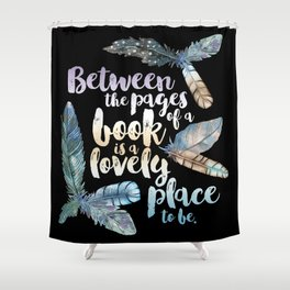Between The Pages - Feathery Black Shower Curtain