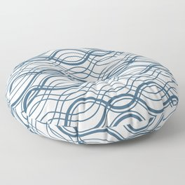 Blue Thin Overlapping Horizontal Lines Pattern on Off White Chinese Porcelain 2020 Color of the Year Floor Pillow