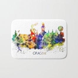 Cracow skyline color Bath Mat