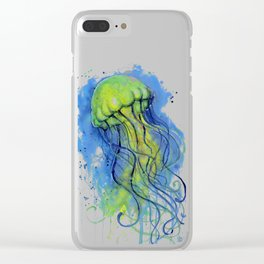 Jellyfish Watercolor Beautiful Sea Creatures Clear iPhone Case