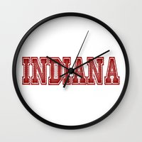 indiana Wall Clocks featuring Indiana by Lexi Designs