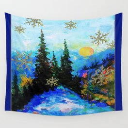 Blue Snowy Mountain Scenic Landscape Wall Tapestry
