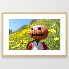 Jack Pumpkinhead in yellow field Framed Art Print