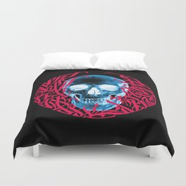 Gothic Calligraphy on Skull saying Always Hungry Duvet Cover