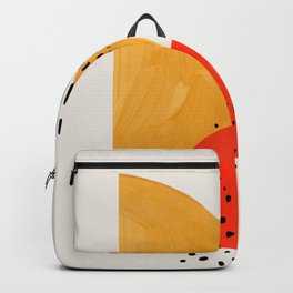 Rock & Hard Place Yellow & Orange Mid Century Modern Colorful Minimalist Shapes Patterns by Ejaaz Ha Backpack