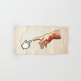 Funny 8bit Nerd & Geek Humor (Creation of Adam Parody) Hand & Bath Towel